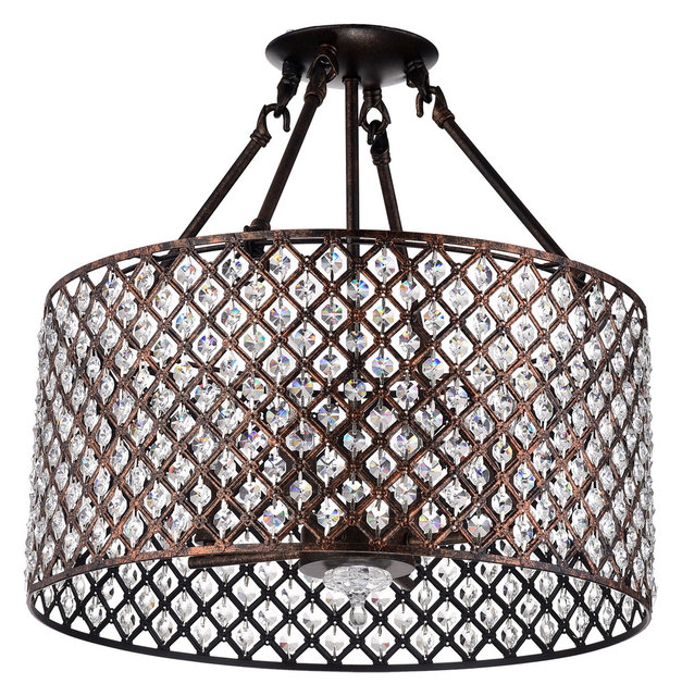 Mariella 4 Light Crystal Semi Flush Mount Antique Copper
