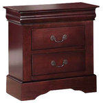 Acme Furniture - Louis Philippe III Nightstand, Cherry - Like the song of its namesake, the Louis Philippe III Nightstand is beautiful, has depth and is hard to ignore. This stately bedside table is crafted from a mix of solid wood and veneer with a cherry finish, and features a pair of drawers to keep essentials at hand but stored neatly away. Its roomy top can be used to host frames, candles and other decorative extras. Antiqued hardware completes the look. Acme Furniture is dedicated to providing an array of high-quality, stylish pieces for the home.