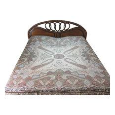 Mogulinterior - Pashmina Bedspreads Blanket Red Beige Kashmir Indian Bedding Bed Throw - Blankets