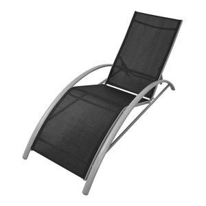 vidaXL Aluminium Sun Lounger,  Black