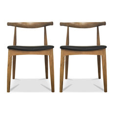 Set Of 2 Real Oak Wood PU Leather Cushion Seat Modern Wood Side Dining Chair Wa