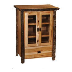 Authentic Hickory Log Media Cabinet - Handcrafted USA In Euro Style Cognac