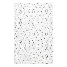 Hand-Tufted Soft and Plush Diamond Lattice Shag Rug, White, 5'x8'