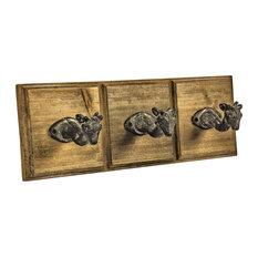 Deer Wall Mounted Animal Head Hooks, Set of 3, Brown/Black