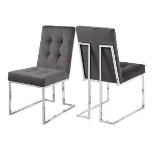 Alexis Velvet Dining Chair, Set of 2, Gray
