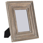 """Madeleine Home - Capri Wood Frame, 5""""x7"""", Gray - Your favourite photos deserve to be framed; in a frame which does not overpower the picture instead compliments it. The Capri photo frame is designed to accomodate the differing needs, ie. of a frame which accentuates the picture and a decorative piece at the same time! With a concentric-rectangle pattern along with rope and ribbon resembling borders, a distressed finish and, in a tasteful grey colour, the Capri frame is a quintessence of Madeleine wooden frames collection."""