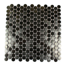 Tile Bar 12 X12 Metal Silver Stainless Steel Penny Round Single