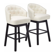 Transitional Bar Stool With Padded Cushioned Seat And Wooden Legs Set Of 2 Bei