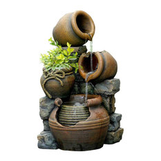 """Jeco Inc Multi Pots Outdoor Water Founta"""" With Flower Pot"""
