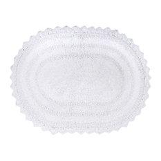 DII White Small Oval Crochet Bath Mat
