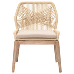 Essentials for Living - Loom Dining Chairs, Set of 2, Sand - Let your dining room reflect your impeccable style with the Loom Dining Chairs. These intricate chairs features mahogany wood in a stone wash finish and a woven rope design. Push the boundaries of traditional design with a piece that is ready for the modern home, like the Loom Dining Chairs.