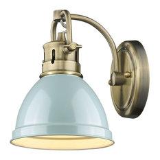 1-Light Aged Brass Bath-Light With Seafoam Shade