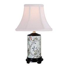 "Bird In Tree Motif Porcelain Vase Table Lamp 15"""