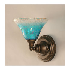 1-Light Wall Sconce Bronze Teal Crystal Glass