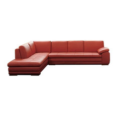 J&M 625 Italian Leather Sectional, Left Hand Facing, Pumpkin