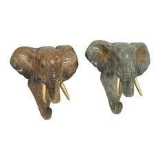 """Polystone Elephant Hook 2-Piece Set, 7""""x7"""""""
