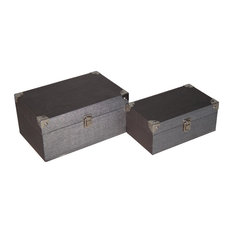 Set Of 2 Gold Pewter Box With Chrome Corner Accent