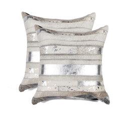 "Torino Madrid Pillows, Set of 2, Silver/Gray, 18""x18"""
