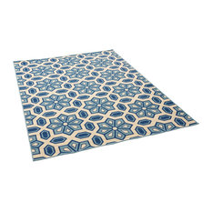 GDF Studio Jacobs Outdoor Geometric Area Rug, Ivory and Blue, 8'x11'