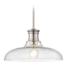 Satin Nickel Seeded Glass Pendant Light 14-Inch Wide