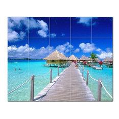 Beach Picture Ceramic Tile Mural Kitchen Backsplash Bathroom Shower, 404038-XL54