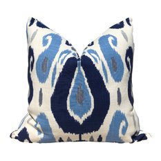 "Ikat Pillow, Moroccan Pillow, Blue and White, 24""x24"", With Pillow Insert"