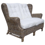 Padma's Plantation - Kubu Wing Loveseat - The natural Kubu weaving material is a soft gray color, which is achieved naturally by soaking the rattan in local clay and sun-drying it before weaving.