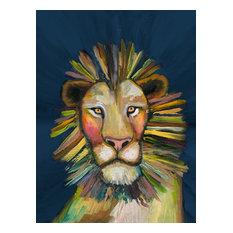 """Wild Lionon Blue"" Canvas Wall Art by Eli Halpin, 24""x30"""