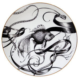 Swirly Smoky Fish Plate, Large