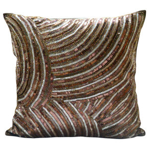 Brown Sequins & Beaded Throw Cushions Cover, 50x50 Silk Cushions Cover, Diva