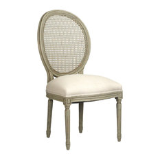 Zentique   Medallion Side Chair With Cane Back, Olive Green   Dining Chairs