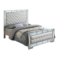 Glory Furniture - Galera Tufted and Mirrored Bed, Pearl, King - Panel Beds