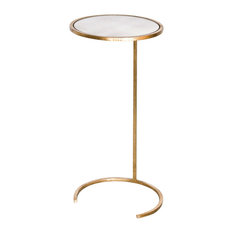 Worlds Away Round Cigar Table, Gold