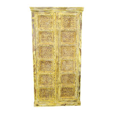 Consigned Vintage Yellow Antique Indian Armoire Lovely Wardrobe Wood Storage