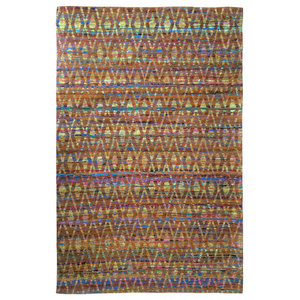 Diamond Sari Silk Area Rug, Multi Orange, 150x240 cm