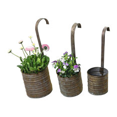 Hanging Metal Flower Planters, Set of 3 With Hanging Handles