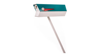 Mid-Century Modern 2-Tone Mailbox, Turquoise and White