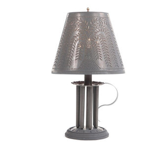 Plantation Candlestick Accent Light with Shade in Blackened Punched Tin