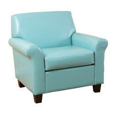 GDFStudio   Addison Leather Club Chair, Teal Blue   Armchairs And Accent  Chairs