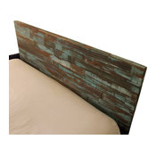 Reclaimed Wood Headboard, Painted Green and Blue, King