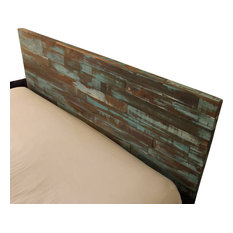 Reclaimed Wood Headboard Painted Green And Blue King