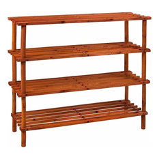 Comtemporary Shoe Rack in Solid Wood with 4 Open Shelves, Walnut