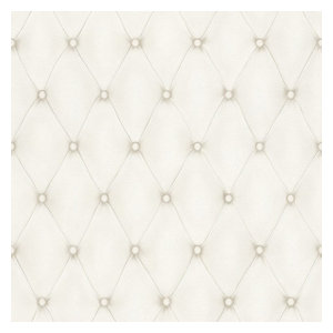 Wallpaper Designer White on Cream Faux Tufted Fabric Look