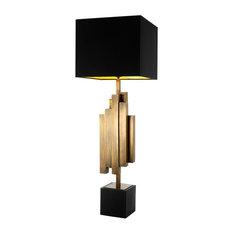 "Brass Table Lamp, Eichholtz Beau Rivage, Black, 7""x14""x42"""