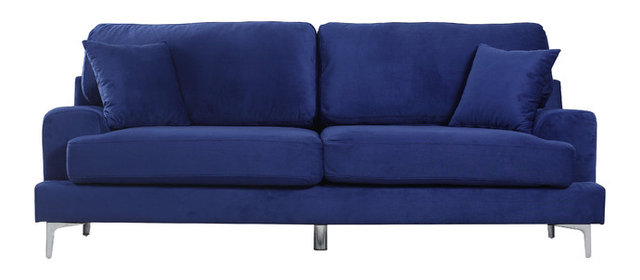 Ultra Modern Plush Velvet Living Room Sofa Blue