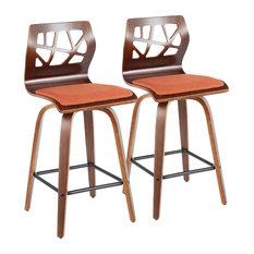 Folia Mid-Century Modern Counter Stool Orange Fabric Set Of 2
