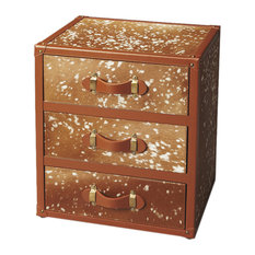 Offex Wooden Hair-On-Hide Chairside Chest With Leather Drawer Handles