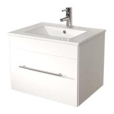 Emotion Pluto Bathroom Furniture, White High-Gloss, 60 cm, White High-Gloss