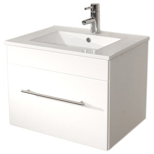 Emotion Pluto Bathroom Furniture, White High-Gloss, 60 cm, White High-Gloss