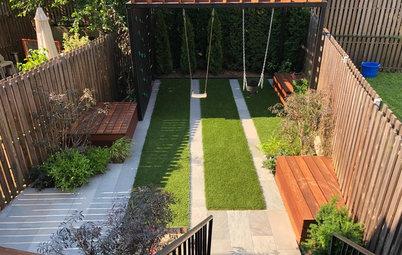 Modern Kid-Friendly Backyard With a Small Playground